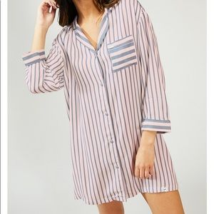 Pink and grey striped nightshirt